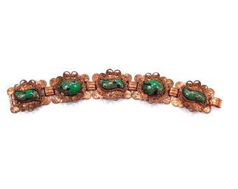 Copper Link Green Bracelet Victorian Style Panel Bracelet Lucite Center Germany Vintage Copper Bracelet Jewelry