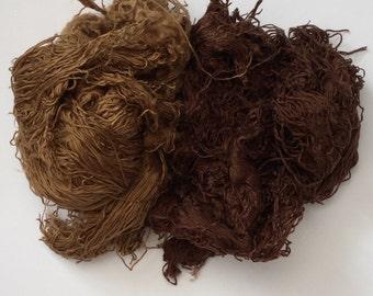 """NEW: Tussah silk unspun """"effect"""" fibre/fiber shreds 2 colour mix. Spinning felting weaving"""