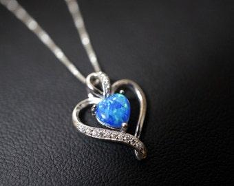 Opal Necklace, Blue Opal & Cz Necklace, October Birthstone, Blue Heart Opal Necklace,tiny Opal Jewelry, Full Sterling Silver Cz Necklace