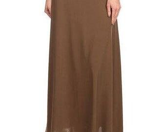 Women's Solid Mocha Knit Maxi Skirt
