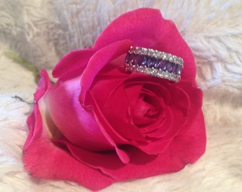 Christmas SALE: Beautiful Rare Vintage Amethyst & CZ Cubic Zerconia Ring - Sterling Silver Amethyst Cubic Zerconia Ring -Amethyst Ring