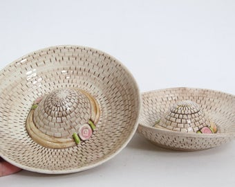 Vintage Pair of Ceramic Sombrero Dishes, Stacking Snack Dish Pottery Craft