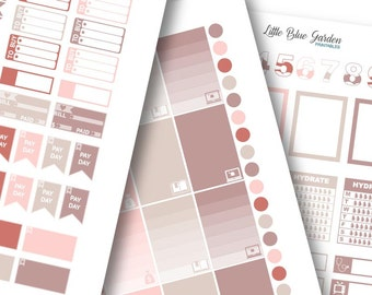 Lil' Flag Color Medley: Rose Gold Planner Stickers -Instant Download, printable sticker kit, eclp stickers