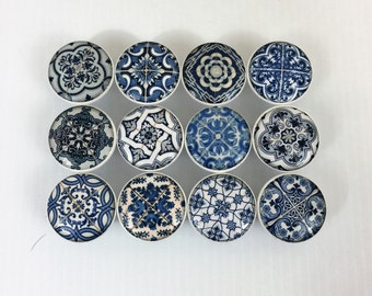 Set of 12 Blue and White Medallion Cabinet Knobs