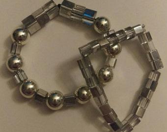 Silver clear beaded bracelet