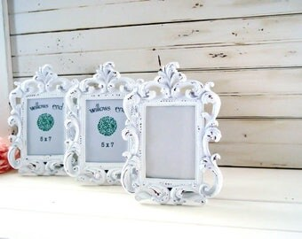 Shabby Chic White Vintage Style Ornate 5 x7 Frame, Table Number Frames, Cottage Chic White Frame, Wedding Frames Rustic White Nursery Frame