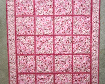 Patchwork Hearts of Love baby girl quilt