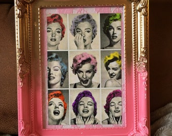 Marilyn Monroe multi colour hair print in a gold and pink frame 7x5""