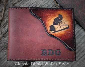 WELDER wallet, Father's day gift, welder gift, wallet with a WELDER, Initials or Name Engraved Free!