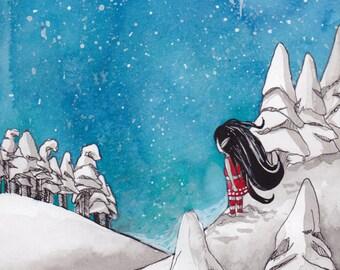 Ana Dess in Christmas Elf - Original drawing