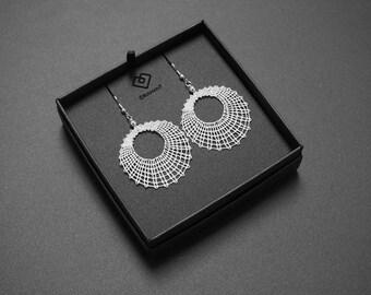Circle Lace Earrings | Handmade Bobbin Lace Jewellery