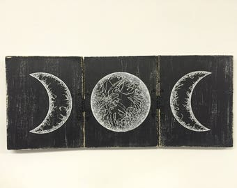 Triple Moon Print, Moon Art, Triple Moon Goddess, Space Art, Art Print, Art Gift, Black and White Art, Witch Art, Goddess Art, Full Moon