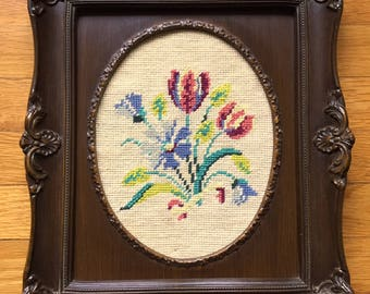 vintage floral needlepoint crewel embroidery in large ornate wood frame 12x15 1960s 1970s kitsch baroque rococco victorian