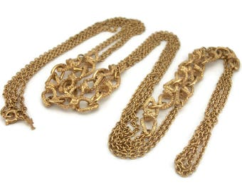 Crown Trifari Long Gold Tone Chain Link Necklace - Smooth and Organic Textured Chain Link 56 inch Opera Length - Designer Signed Vintage