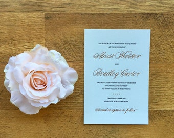 Rose foil Wedding invitation, with letterpress DLPRF-AM1222
