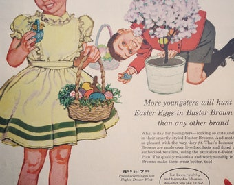 1958 Buster Brown Shoe Advertisement featuring two cute kids in their Easter outfits.