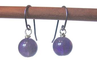 Niobium earrings with amethyst Hypoallergenic purple earrings