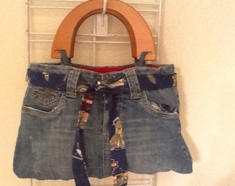 Harley Davidson - Upcycled, Recycled, Repurposed Denim Purse