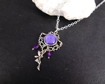 Necklace fairy amulet fantasy jewelry fairy pendant fairy jewelry cabochon necklace