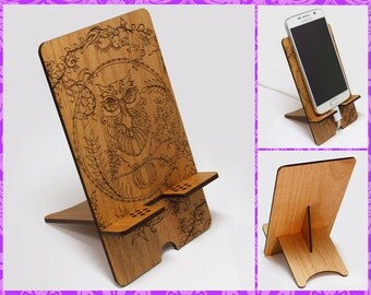Mystic Owl Design ~ Engraved Smart Phone Desk Stand