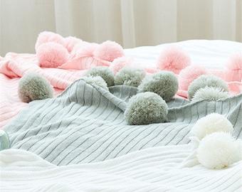 Soft Pink KnittedPOM POMBlanket X LARGE