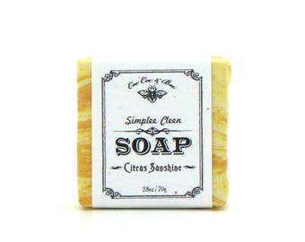 Citrus Sunshine Fabric Wrapped Soap 2.8oz ~ fresh ~ zesty ~ summertime ~ orange ~ shower ~ gift ~ customized