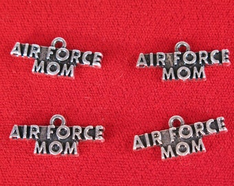 "BULK! 15pc ""Air Force mom"" charms in silver style (BC1174B)"
