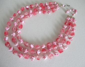 Vintage Pink Multi Strand Necklace  Unusual Lucite Beads Retro Free Shipping