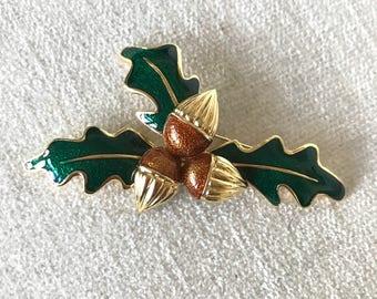 SALE Vintage acorn brooch