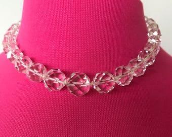 SALE C. 1930s Genuine faceted Crystal quartz necklace