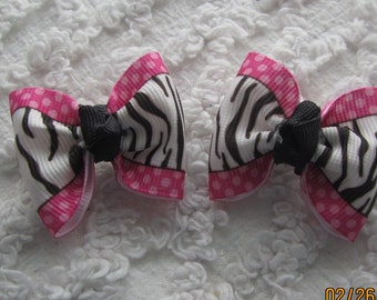 Dog Hair Bows Can Mix and match with any of my bows, Zebra and Hot Pink Polka Dots dog bows, bows