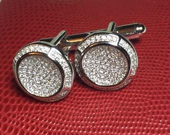 Wedding Cufflinks - Sterling Silver Cufflinks - Cubic Zirconia Cufflinks - Formal Cufflinks - Micro Pave CZ Cufflinks
