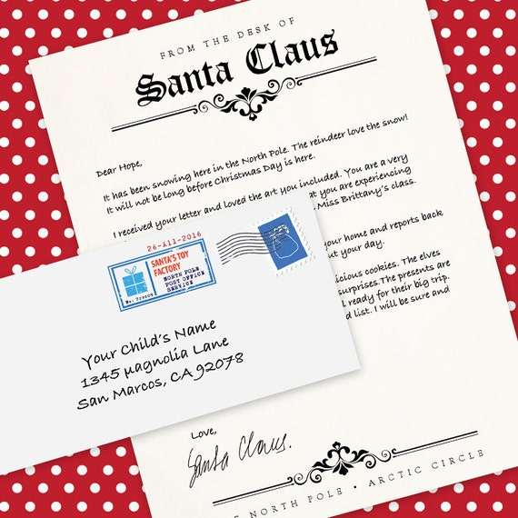 Letter from santa claus ms word template letterhead letter from santa claus ms word template letterhead printable envelope printable diy instant download ms word pronofoot35fo Image collections