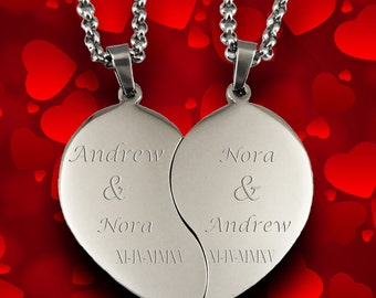 Custom Couples Necklace Broken Heart, Valentine's Day Pendant Engraved for Free, Stainless Steel Customized Chain Personalized Love Necklace