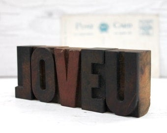 LOVE U Wood Letterpress Letter Blocks from 1930s, Vintage Letterpress, Vintage Valentine's Day