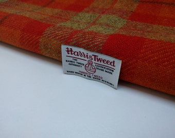 Harris Tweed Fabric - Orange Check