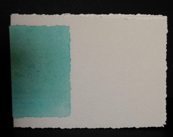 """Hand-Bound, Blank Watercolor Paper Journal 4""""x 6"""" with Turquoise Colored Spine"""