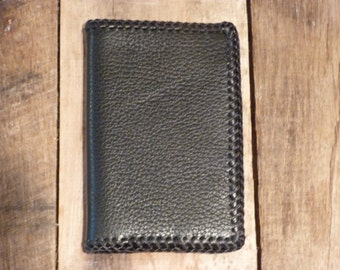 Black grainy handmade leather wallet, 8 pockets for cards and opening for bills, laces, country biker western style