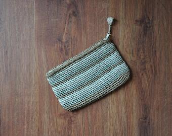 vintage 70s raffia clutch / small woven straw bag / striped crochet bag / neutral colors purse