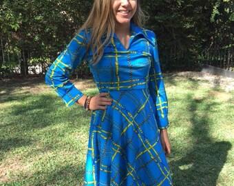 Blue gold dress, size 2, chains, belts, polyester dress,