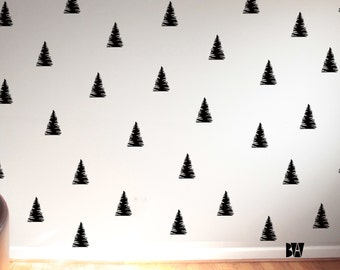 Pine Tree Wall Decals. Tree Wall Decals. Geometric Wall Decor. Vinyl Decals. Wall Decal. Nursery wall decals. Home decor decals.