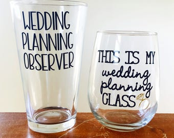 Couples engagement gift this is my wedding planning glass funny couples wedding set engagement party wine glass