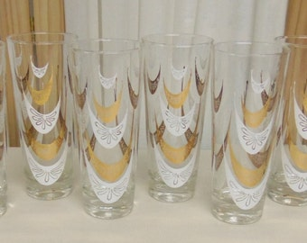 Vintage Lot of 8 1950's Tall Drinking Glasses White and Gold All Unused Mint Condition