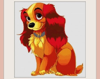 Lady and the Tramp - Lady no background - cross stitch pattern - PDF pattern - instant download!