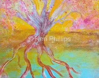 16x20 Tree with Roots Art Print, Tree Print, Tree Art, Blue, Yellow, Pink, Tree Wall Art, Tree Home Decor, Tree Roots, Tree Painting, Tree