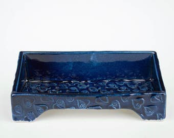 Handmade ceramic desk business card holder, cobalt blue, slab built, white stoneware, heart stamp pattern