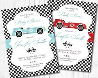 Race car baby shower invitation, Race cars invite, baby shower invite,red, baby blue,  printable