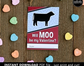 PRINTABLE Show Steer Valentine card for kids INSTANT DOWNLOAD - beef cow, cattle, Valentine's Day, Valentines, farm, ranch, stock show