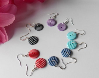 Bright Stripey Earrings, Button Dangle Jewellery, Gifts for Her, Retro Style Ear Wires, Female Friend Token, Dotty Lover, Fun Accessory