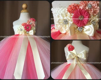 Flower girl tutu dress in ivory , coral and peach